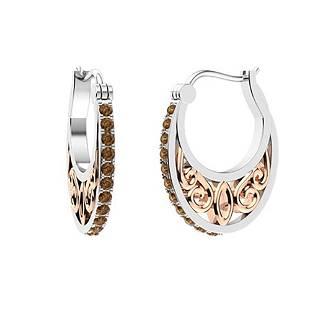 0.56 CTW Brown Diamond Hoops Earrings 18K White Gold
