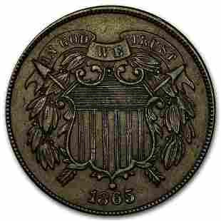 1865 Two Cent Piece AU