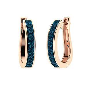 1.71 CTW London Blue Topaz Hoops Earrings 14K Rose Gold