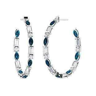 3.12 CTW London Blue Topaz Hoops Earrings 18K White