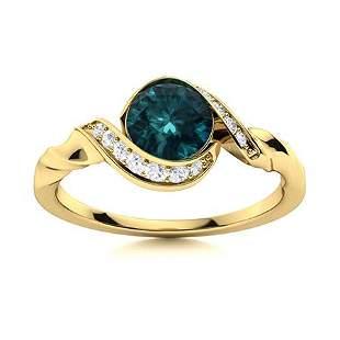 Natural 0.74 CTW Blue & White Diamond Engagement Ring