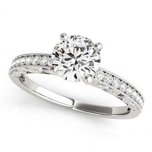 Natural 0.96 ctw Diamond Antique Ring 14k White Gold