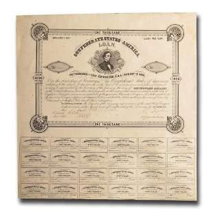 1861 $1000 CSA Bond 8% / 15yr Jefferson