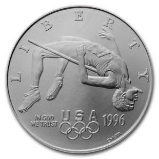 1996-D Olympic High Jump $1 Silver Commem BU (w/Box &
