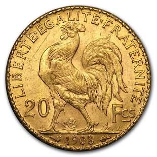 1908 France Gold 20 Francs Rooster BU