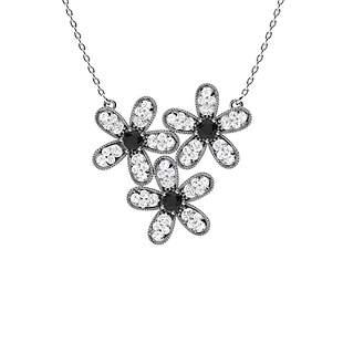 0.55 ctw White & Black Diamond Necklace 14K White Gold
