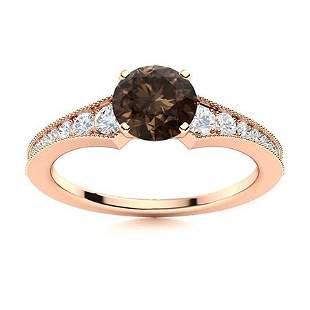 Natural 1.66 CTW Smoky Quartz & Diamond Engagement Ring