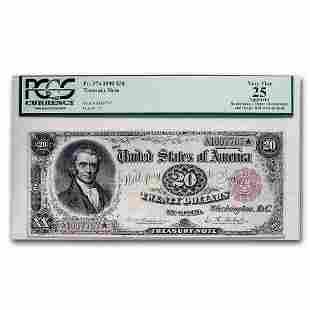 1890 $20.00 Treasury Note John Marshall VF-25 PCGS