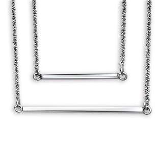 """Rhodium Plated Sterling Silver 16"""" Double Layer"""