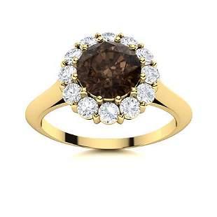 Natural 1.47 CTW Smoky Quartz & Diamond Engagement Ring