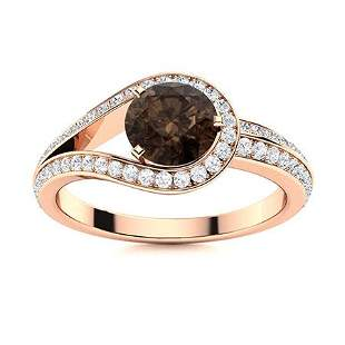 Natural 1.02 CTW Smoky Quartz & Diamond Engagement Ring