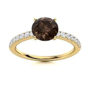 Natural 1.67 CTW Smoky Quartz & Diamond Engagement Ring
