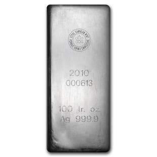 100 oz Silver Bar - Royal Canadian Mint (2010/.9999