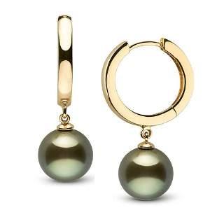 Black Tahitian Pearl High-Polish Huggie Hoop Earrings