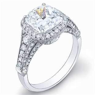 Natural 3.32 CTW Pave Halo Cushion Cut Diamond