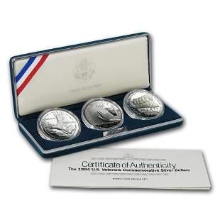 1994-P 3-Coin U.S. Veterans Proof Set (w/Box & COA)