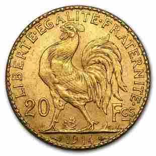 1914 France Gold 20 Francs Rooster BU