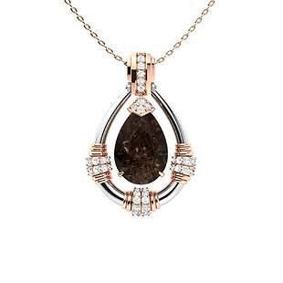 2.76 ctw Quartz & Diamond Necklace 14K Rose Gold