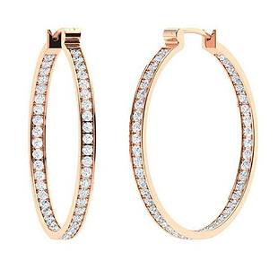 0.86 CTW Diamond Hoops Earrings 14K Rose Gold