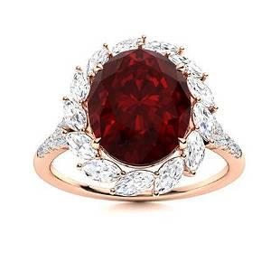 Natural 4.59 CTW Garnet & Diamond Engagement Ring 14K