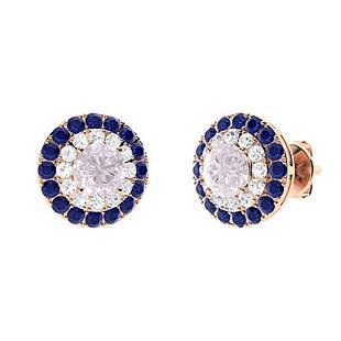1.86 CTW Rose Quartz Halo Earrings 18K Rose Gold