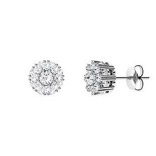 0.94 CTW White Topaz & Diamond Halo Earrings 14K White