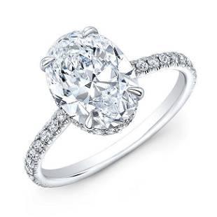 Natural 2.62 CTW Hidden-Halo Oval Cut Diamond