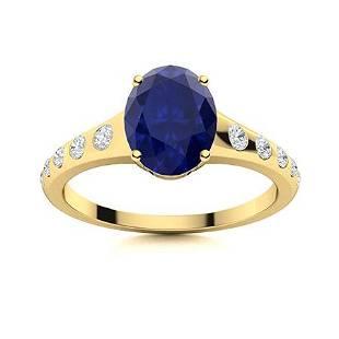 Natural 2.11 CTW Sapphire & Diamond Engagement Ring 18K