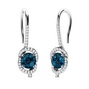 1.21 CTW London Blue Topaz & Diamond Drops Earrings 18K