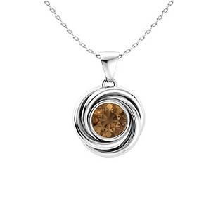 0.47 ctw Brown Diamond Necklace 18K White Gold