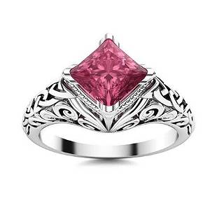 Natural 0.86 CTW Tourmaline Solitaire Ring 14K White