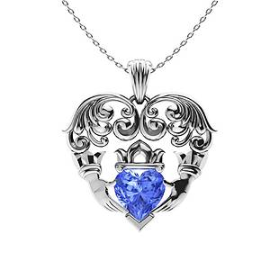 1.27 ctw Ceylon Sapphire Necklace 14K White Gold