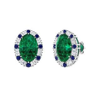 10.07 CTW Emerald Halo Earrings 14K White Gold