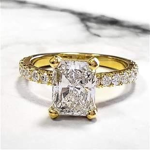 Natural 1.72 CTW Radiant Cut Diamond Engagement Ring