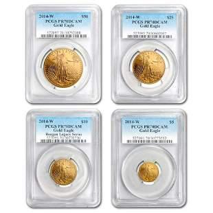 2014-W 4-Coin Proof Gold Eagle Set PR-70 PCGS