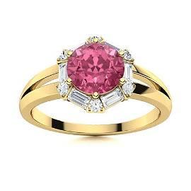 Natural 1.35 CTW Tourmaline & Diamond Engagement Ring