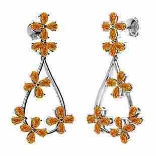 10.56 CTW Citrine Chandelier Earrings 14K White Gold