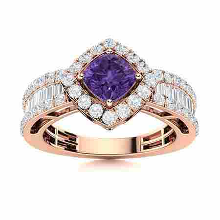 Natural 2.11 CTW Amethyst & Diamond Engagement Ring 14K
