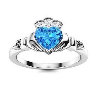 Natural 0.58 CTW Topaz & Diamond Engagement Ring 14K
