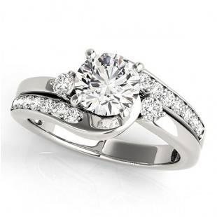Natural 1.5 ctw Diamond Bypass Ring 14k White Gold