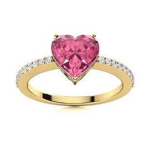 Natural 0.66 CTW Tourmaline & Diamond Engagement Ring