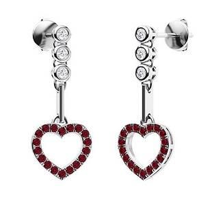 0.73 CTW Ruby & Diamond Chandelier Earrings 14K White
