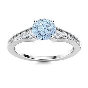 Natural 0.86 CTW Aquamarine & Diamond Engagement Ring