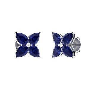 3.69 CTW Sapphire & Diamond Earrings 14K White Gold