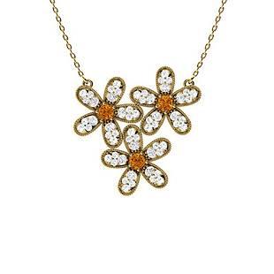 0.55 ctw Citrine & Diamond Necklace 18K Yellow Gold