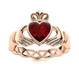 Natural 1.69 CTW Garnet Solitaire Ring 14K Rose Gold