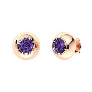 1.46 CTW Amethyst Studs Earrings 18K Rose Gold