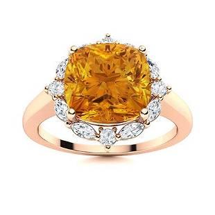 Natural 3.05 CTW Citrine & Diamond Engagement Ring 18K
