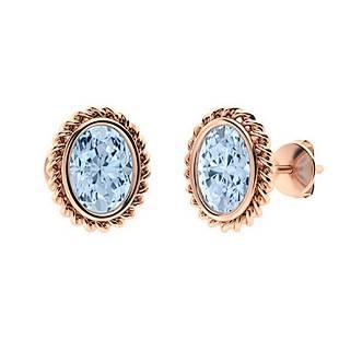 2.26 CTW Aquamarine Studs Earrings 18K Rose Gold