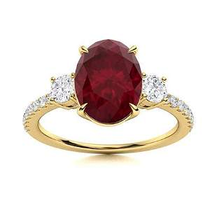 Natural 5.66 CTW Ruby & Diamond Engagement Ring 18K